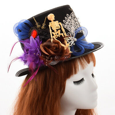 Steampunk Gothic Man Women Hat Vintage Cosplay Victorian Hat Feathers Skull Gear