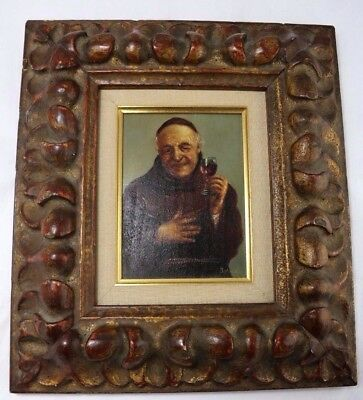 19th Century Antique Original Oil on Canvas Painting of a Monk w/Glass of Wine
