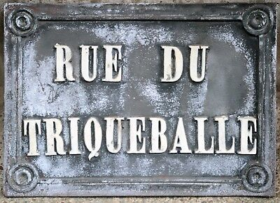 Antique bronze French street sign plaque plate name Rue Triqueballe Saint-Omer