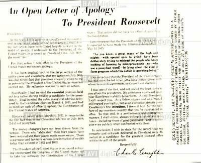 1936 press photo F.D. Roosevelt apology letter Priest