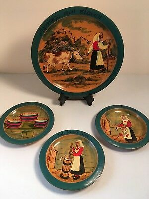 Norwegian Hand Painted Plates Signed L.giske  Norway Wood Bunad Cow Churn Romme