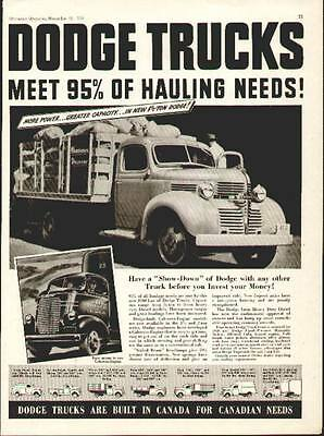 1939 Dodge Trucks ad (2 Models A Stake Truck and a Cab over Engine Truck)