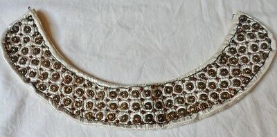Vintage Collar Red White Beads Gold Wires On Satin Hand Made In India