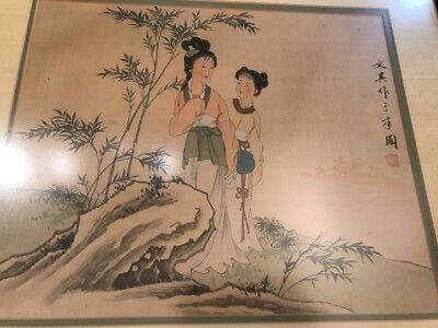 Antique Vintage Chinese Painting On Silk - Signed, Two Women On Rock, Framed #2