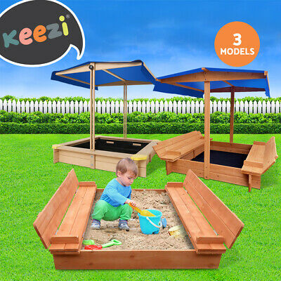Kids Sand Pit Wooden Outdoor Play Set Canopy Sandpit Toy Box Children Backyard