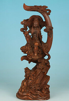 Chinese Boxwood Handmade Carved Moon guanyin Statue Figure