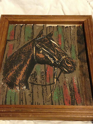 Unusual Unique Horse Head Cloth Plaque - Stuffed - Hand-Stitched - Wood Frame