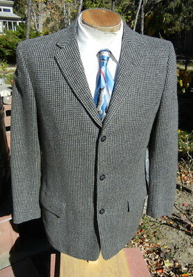 Vintage 1950s Tweed Check Sport Coat 39S - Marx Made 3 Button Jacket FREE SHIP