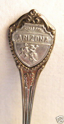 "ARIZONA Cowboy on Horse Vintage Souvenir Spoon 3.5"" Silver Metal Made in Japan"