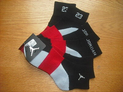 "Mens/Teens NWT NIKE Air Jordan Quarter Ankle Socks 3prs Black Silver ""23"" Sz:M"