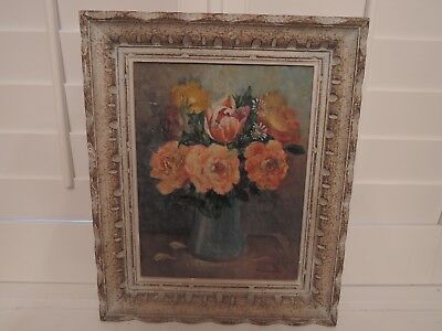 Framed Oil Painting on Board Peach Florals Still Life French c.1940 M. Doumen Si
