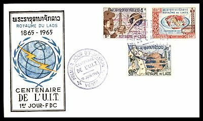 Laos 1965 ITU Centenary FDC Unaddressed Sealed Flap Scott 109-111