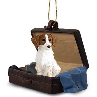 Brittany Spaniel Brn Wht Traveling Companion Dog Figurine In Suit Case Ornament