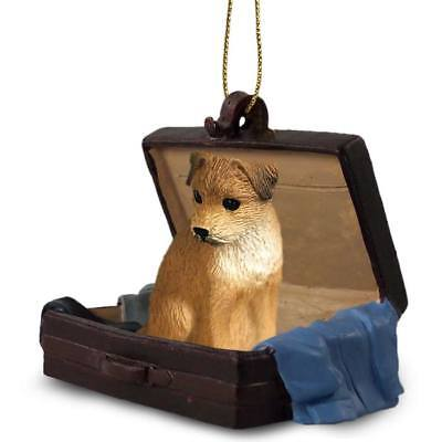 Border Terrier Traveling Companion Dog Figurine In Suit Case Ornament