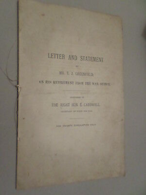 1871 booklet Statement by T J Greenfield on retirement from War Office Cardwell