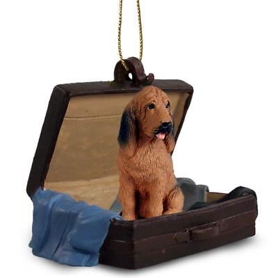 Bloodhound Traveling Companion Dog Figurine In Suit Case Ornament