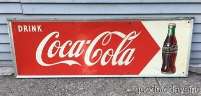 """Vintage 1950's Coca Cola Advertising Tin Metal Sign 54"""" by 18"""""""