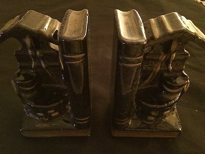 Vintage Set Of Japan Redware Black & Gold Wishing Well Bookends