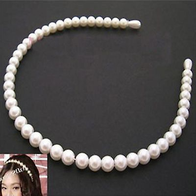 1* Women Lady Girl wedding Faux Pearl Beads Hair Band Head Band Party Tiara GIFT
