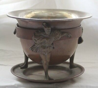 Vintage Jos Heinrichs Bronze Sterling Silver Arts Crafts Bowl With Figurine Base