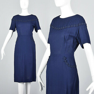M 1950s Navy Blue Pencil Dress Floral Trim Short Sleeve Casual Day Wear 50s VTG