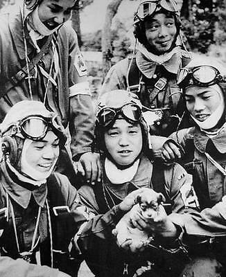 B&W WWII WW2  Photo Japanese Kamikaze Pilots with Puppy  World War Two / 2211