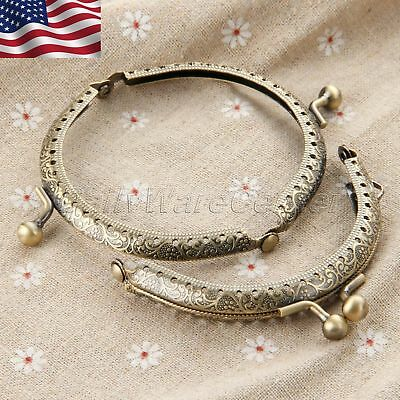 8.5cm Metal Purse Bag Part Kiss Arch Frame Clasp Lock Bronze Half Round US STOCK
