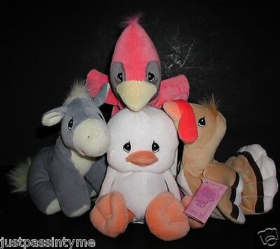 Precious Moments Tender Tails Collection,White Duck,Red Cardinal,Turkey & Donkey