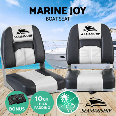 Seamanship 2X Folding Boat Seats Seat Marine Seating Set All Weather Swivel Blue