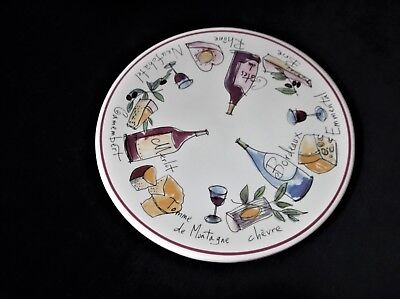 """Lovely Glazed Tile Cheese Board With Wine And Cheeses Bold Retro Colours 8"""" Dia"""