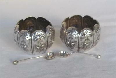 A Stunning Pair Of Solid Silver Victorian Flower Open Salts & Spoons Dates 1891.