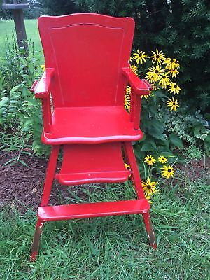 antique wooden heavy solid wood baby high chair painted red no tray