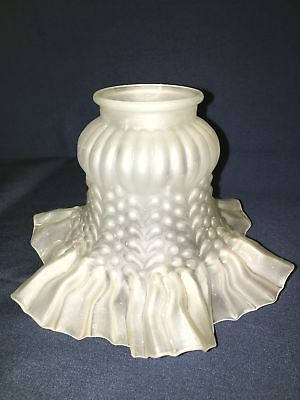 """Antique frosted glass chandelier sconce lamp light shade cover ruffled 2"""" fitter"""