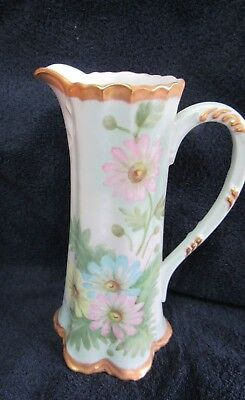 Vintage TALL Hand Painted Flowers PITCHER /Tankard Gold Trim ~SIGNED-ESTATE FIND