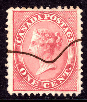 CANADA #14 1c ROSE, 1859 FIRST CENTS PERF12, VF, PEN CANCEL