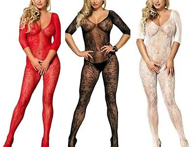 Womens Lingerie Crotchless BodyStocking Bodysuit One Size 6/8/10-16/18