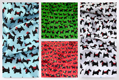 Christmas Scottie Dog Print Polycotton Dress Fabric (P851-Red-M)