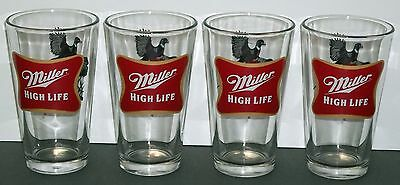 Miller High Life Beer Glass Pheasant Design 5.75 inches tall, set of 4 Glasses