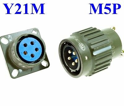 22mm M  5P Electrical Connector Military PLUG Male Pin + Base Female Receptacle