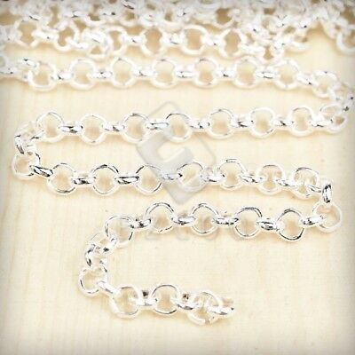4m Unfinished Bulk Chains Necklace DIY Wholesale Silver Rollo Chain 3x3mm YB