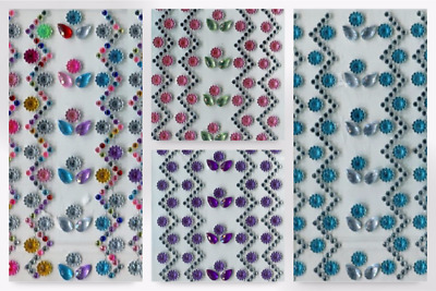 Stick-On Self Adhesive Diamante Flowers - per pack (PP1062-Pink-M)