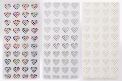 Stick On Self Adhesive Diamante Hearts - per pack of 44 (PP1067-Assorted-M)