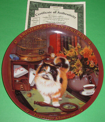 """A Mysterious Case of Fowl Play Calico Persian Cat Collector Plate 8"""" Box w/COA"""
