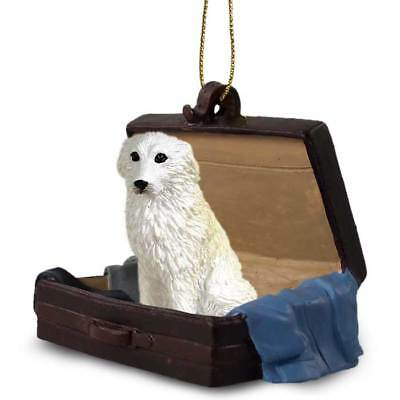 Great Pyrenees Traveling Companion Dog Figurine In Suit Case Ornament