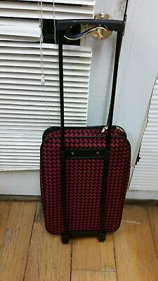 Fabric Rolling Travel Luggage Plus Zippered Carry Bag & Cosmetic All Purpose Bag