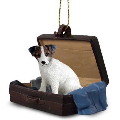 Jack Russell BrnWht Rough Traveling Companion Dog Figurine In Suit Case Ornament
