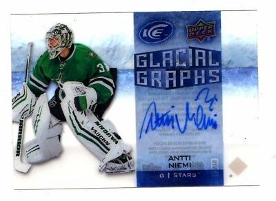 Antti Niemi Nhl 2015-16 Upper Deck Ice Glacial Graphs Auto (Stars,penguins,shark