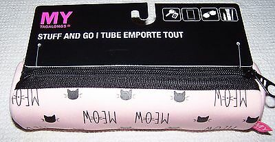 My Tagalongs CAT MEOW Stuff & Go Neoprene Tube Case PINK/BLACK  ~ NWT