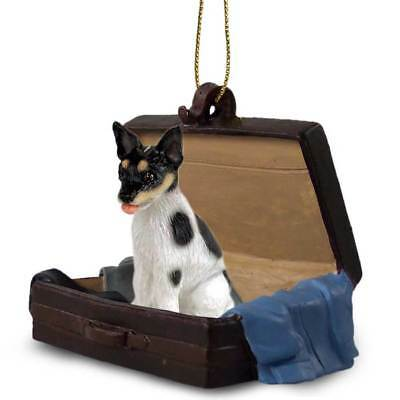 Rat Terrier Traveling Companion Dog Figurine In Suit Case Ornament