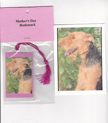 Welsh or Airedale Terrier Dog Happy Mother's Day Card and Matching Bookmark